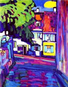 Wassily Kandinsky (Russian, Expressionism, Murnau, Houses on the Obermarkt; Oil - my favorite Kandinsky Art And Illustration, Illustrations, Henri Matisse, Kandinsky Art, Wassily Kandinsky Paintings, Impressionism Art, Fauvism Art, Paintings I Love, Fine Art