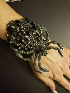 Black Crystal Spider Statement Cuff MASSIVE Tarantula Cuff Wide Black Cuff Black Tie Jewelry GOTH Elvira Cuff Dramatic Haute Coutre…