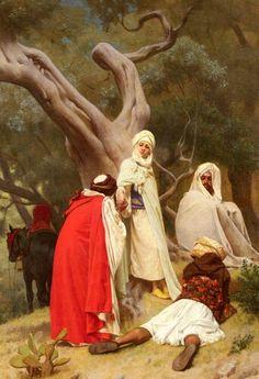 Algérie - Peintre Français  Gustave Clarence Rodolphe Boulanger(1824–1888), Huile sur toile 1871, Titre : Réception d'un Emir