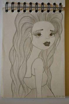 ⚪natta.lk @ instagram⚪ Teckning Flicka Tjej Hår Ögonfransar Läppar Blyerts Drawing Girl Hair Eyelashes Lips Graphite Blacklead