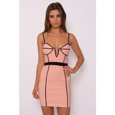 Rare London Blush And Black Panelled Bodycon Dress ($23) ❤ liked on Polyvore featuring dresses, bodycon cocktail dress, black panel dress, black body con dress, panel dress and kohl dresses