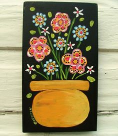 """Folk primitive Floral painting original  art GOSHRIN #Outsider Title: """"Colors Of Happiness""""  Size: 4"""" X 7""""  Media: Acrylic.  Date: July 2016. About This Piece: These are the true colors of happiness. Painted on a wooden panel."""