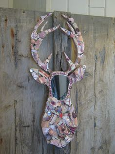 Mosaic stag mirror in pinks, mosaic art.