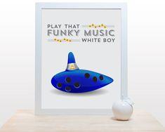 Play that funky music white boy - Poster print for gamer Legend of Zelda Ocarina of time Link Epona Music video game nintendo cobalt blue