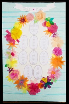 tissue paper table plan, image by Chris Giles Photography