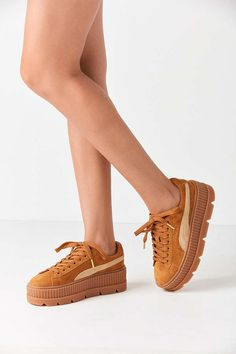 Slide View: 1: Puma Fenty By Rihanna Suede Cleated Creeper Sneaker