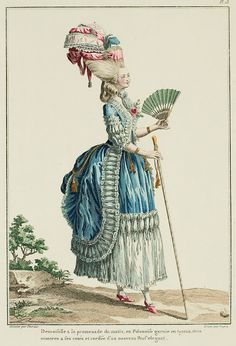 """A Most Beguiling Accomplishment: Galerie des Modes, 9e Cahier, 6e Figure (1778). Caption & long description translated by @Cassidy. """"Young lady on her morning walk, in a Polonaise trimmed in pipes, two watches at her sides, coiffed in a new, elegant pouf... Winged polonaise. These polonaises are made of the heaviest stuff, such as part-silk, moire,* and other similar trims; but they require the lightest: the tail, pulled high with ribbons in bows or tasseled cords, must be shorter than…"""