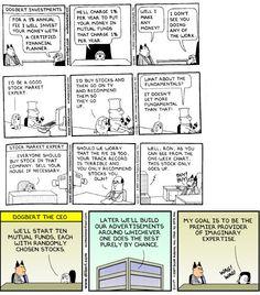 Dilbert cartoons on financial weasels-financial planner, stock market expert