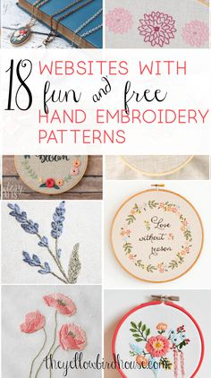 17 Sites with Fun and Free Hand Embroidery Patterns A great round up of 17 websites with loads of gorgeous and free hand embroidery patterns. Beautiful floral embroidery patterns and super cute cross stitch! Hand Quilting Designs, Hand Embroidery Patterns Flowers, Hand Embroidery Projects, Embroidery Stitches Tutorial, Simple Embroidery, Crewel Embroidery, Hand Embroidery Designs, Embroidery Kits, Knitting Stitches