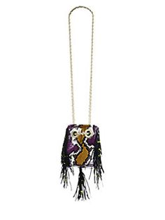 Delphine Delafon - Extra-Small Fringed Painted Python Bucket Bag