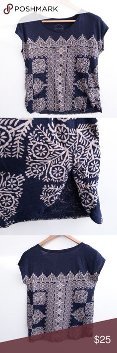 """Lucky Brand Navy Print Top Size Small All measurements are taken with the garment laying flat. Measurements are approximate. Measurement Shoulder: 21.5"""" Chest: 38"""" Length: 24.5""""  Material N/A Lucky Brand Tops Blouses"""