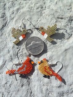 Cardinal or Ruby-Throated Hummingbird beaded earrings by Ellymayfly4Wildlife on Etsy https://www.etsy.com/listing/169180973/cardinal-or-ruby-throated-hummingbird