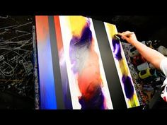 Abstract Painting Demonstration in Acrylics using masking tape and splatter - Iberis - John Beckley - YouTube