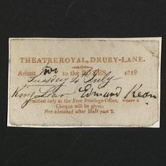 Order for Edmund Kean Performance at Drury Lane, 1819