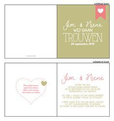 Trouwkaartje - Typografische trouwkaartje in het roze, wit en groen. Ontwerp of bewerk dit kaartje zelf! Met onze ontwerp tool. www.trouwkaarten-drukkerij.nl