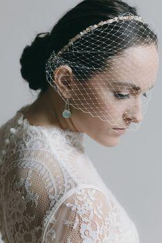 eaecf7276da03 BIRDCAGE VEIL - birdcage headband - bridal veil - blusher veil - bridal hair  piece - wedding fascinator - ivory birdcage veil - bridal veil