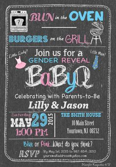 Gender Reveal Chalkboard Party BBQ by HeartfeltKeepsakes4U on Etsy