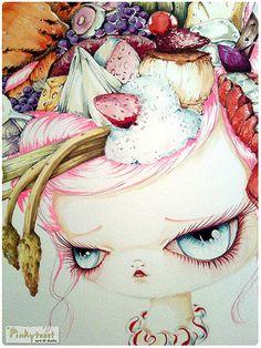 french twist food girl portrait pinkytoast