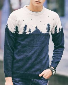 Autumn Vintage Round Neck Cartoon Trees Jacquard Color Spliced Long Sleeves Slim Fit Sweater For Men