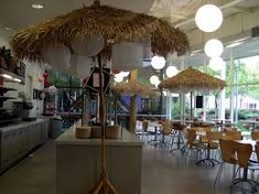 Using umbrellas indoors is an interesting idea to add a sense of intimacy and warmth to smaller areas within the space. Solid Wood Kitchen Cabinets, Kitchen Cabinets Pictures, Solid Wood Kitchens, Best Tiny House, Modern Tiny House, Small House Design, Visual Merchandising, Google Headquarters, Shoji Doors