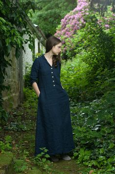 Long Work Dress. Navy Blue Linen by KnockKnockLinen on Etsy, £125.00