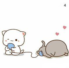 Cute Anime Cat, Cute Bunny Cartoon, Cute Cartoon Images, Cute Love Cartoons, Cute Cartoon Wallpapers, Cute Images, Bear Cartoon, Cute Love Pictures, Cute Love Gif