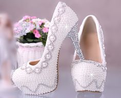 Pearl And Rhinestone Covered High Heels,Unique Bling Crystal, Pearl Wedding Shoes Bridal Shoes on Etsy, £124.23