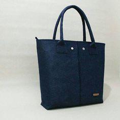Handmade Dark Blue, Felt Tote Bags, Shopper Bags, Felt Shopper, Felt Shoulder Bags, Carry All Bags, Market Bags, Zipper Bags, Gift For Women