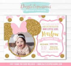 Printable Pink and Gold Glitter Minnie Mouse Birthday Invitation, Girls 1st Birthday Party, Polka Dots Bows and Ears, Little Girls First Birthday Invitation, Party Decorations Available Minnie Mouse Birthday Invitations, Minnie Mouse 1st Birthday, Printable Birthday Invitations, Baby Shower Invitations, Pink Invitations, Mickey Mouse, Birthday Wishes For Kids, 1st Birthday Girls, 1st Birthday Parties
