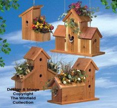 Cedar Birdhouse Planters Wood Plan #WoodworkingProjectsBirdhouse