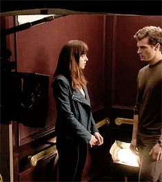 #elevatorscene @lilyslibrary #hotinhere Fifty Shades Of Grey Behind the scenes with Dakota and Jamie