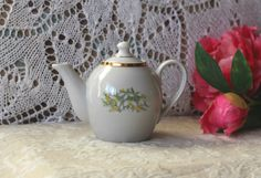 Lovely Small Vintage Porcelain Teapot Riga Porcelain Factory RPR. Golden floral décor Snowdrops flowers, Made in Latvia, USSR Soviet times by RamonaStore on Etsy