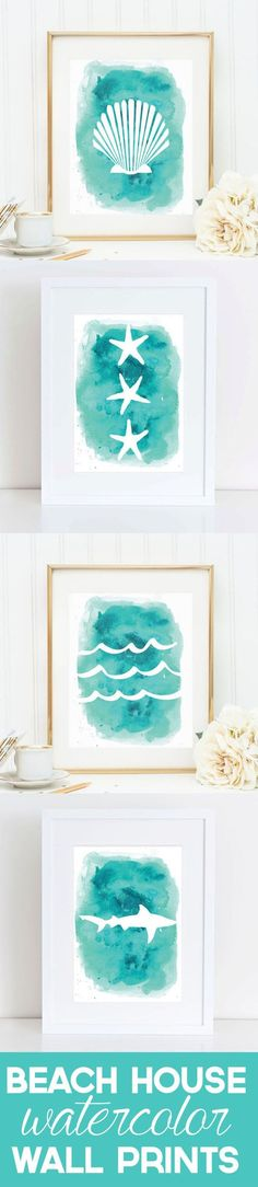 Shells and starfish and sharks, oh my! Freshen up any beach house (or aspiring beach house) with these easy to download watercolor prints. Simply find your combination and print right at home. Easy as that!