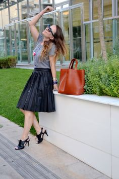 Leather skirt & funny t-shirt