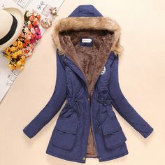 Women's Winter Basic Jackets Coat Female Parka With Fur & Faux Fur Collar Fleece Jeans Denim Outerwear Coats ALX-MDINI