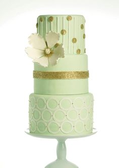 Mint Green & Gold Wedding Cake