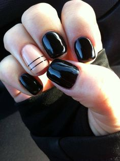 Black and nude nails. Double line accent nails. Shiny finish.