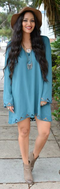 Vanessa Balli Teal Boho Vibes Shift Little Dress