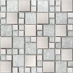 £546.70 for 2 walls. Silver Glass & Brushed Stainless Steel Mosaic Tiles Random Modular Sheet MT