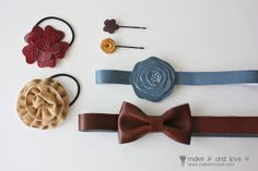 Faux Leather (ahem, vinyl) Hair Accessories: full tutorial including patterns for the flowers. www.makeit-loveit.com