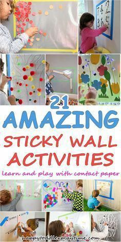 of the BEST Contact Paper Activities - HAPPY TODDLER PLAYTIME - - amazing contact paper activities for toddlers and preschoolers. Learn and play with all of these fun and easy sticky wall activities! Toddler Learning Activities, Games For Toddlers, Infant Activities, Preschool Activities, Kids Learning, Outdoor Activities For Toddlers, Quiet Time Activities, 10 Month Old Baby Activities, Baby Activities 1 Year