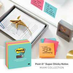 Welcome to the Post-it Miami Color Collection that features bright colors to keep attention on the task at hand.