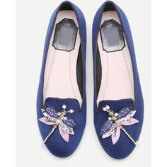 SheIn(sheinside) Blue Rhinestone And Beaded Dragonfly Embellished... (8.515 HUF) ❤ liked on Polyvore featuring shoes, flats, blue, round toe shoes, blue shoes, flat pumps, beaded shoes and round cap