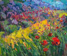 Wildflowers Painting - Hills Of Poppies by Erin Hanson