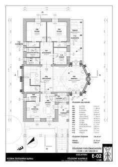 K O Z M A Z S U Z S A N N A építész: Zalaegerszeg, Teskánd, Családi ház tanulmány terve Floor Plans, Diagram, Architecture, Floor Plan Drawing