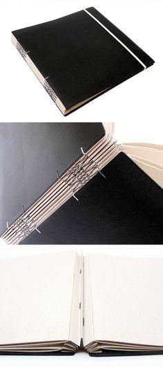 album para fotos, encadernação zigzag, papel recicato, no Canteiro de Alfaces