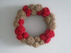 "Burlap Flowers Wreath - 14"" - Red & Natural. $39.00, via Etsy."