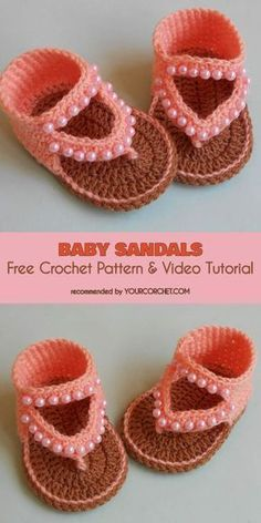 Crochet Child Booties Child Sandals Free Crochet Sample and Video Tutorial Crochet Baby Booties Supply : Baby Sandals Free Crochet Pattern and Video Tutorial by debozark The best and cutest Crochet Baby Sandals Patterns and tutorials! Crochet these adorab Crochet Baby Sandals, Baby Girl Crochet, Crochet Baby Clothes, Booties Crochet, Crochet Shoes, Crochet Slippers, Crochet For Kids, Free Crochet, Knit Crochet