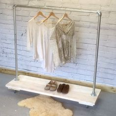 Industrial Style Clothing and Shoe Rack in Scaffold. Loft Style, Heavy Duty…