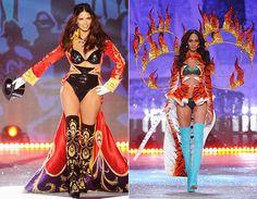 Com inspiração no circo, a brasileira Adriana Lima foi a domadora de leões, desfilando hot pants e sutiã preto de paetês! A top Joan Smalls usou look inspirado nos tigres, com asas de fogo. Uau!